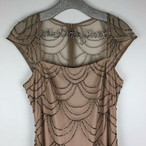 Adrianna Papell Full Length Nude Beaded Dress